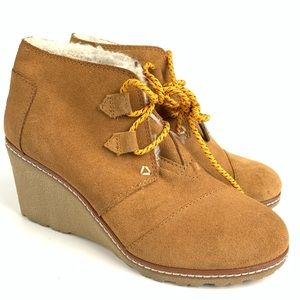 Toms Desert Wedge Lace Up Ankle Bootie Sz 6 Brown